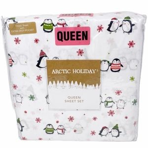 ARTIC HOLIDAY Penguins Snowflakes Queen Sheet Set